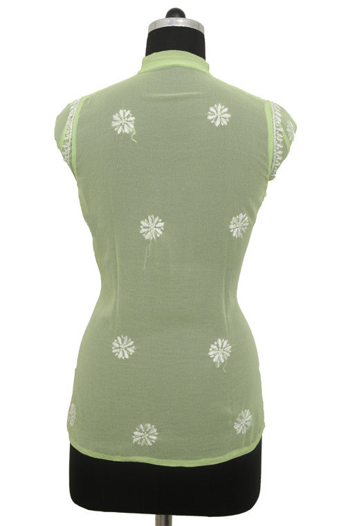 Light Green Georgette Top with Chikankari Embroidery - Saira's Boutique - 2