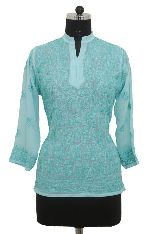 Blue Georgette Top with Chikankari Embroidery - Saira's Boutique - 1