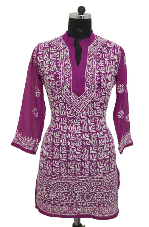 Purple Short Georgette Kurti with Chikankari Embroidery - Saira's Boutique - 1
