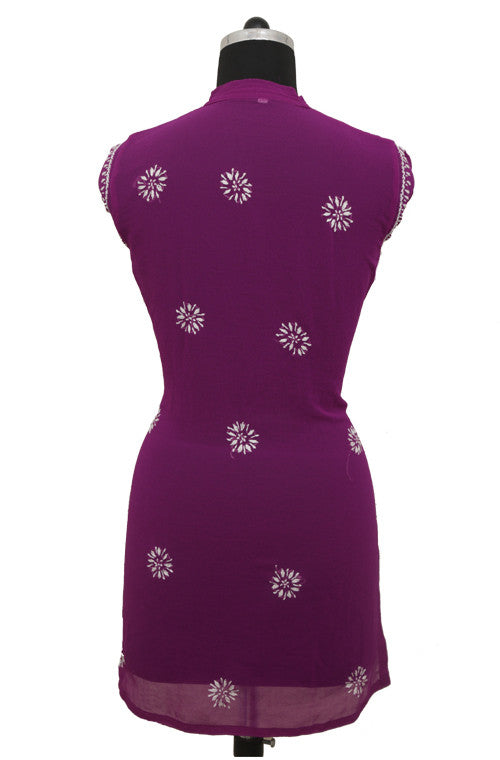 Purple Short Georgette Kurti with Chikankari Embroidery-Saira's Boutique