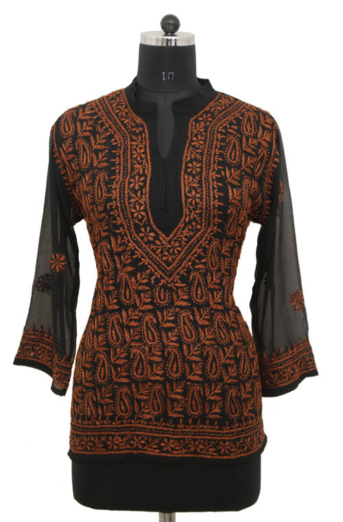 Black Georgette Top with Chikankari Embroidery - Saira's Boutique - 1