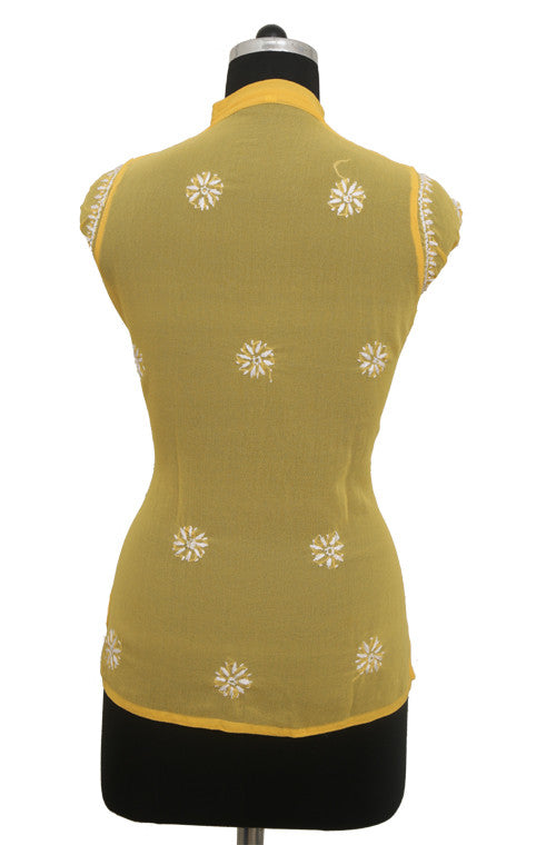 Yellow Georgette Top with Chikankari Embroidery-Saira's Boutique