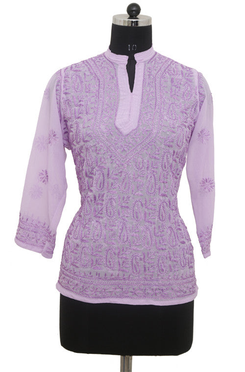 Lavender Georgette Top with Chikankari Embroidery-Saira's Boutique