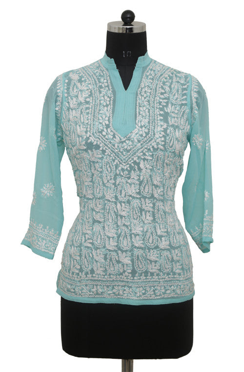 Turquoise Blue Georgette Top with Chikankari Embroidery - Saira's Boutique - 1