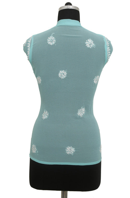 Turquoise Blue Georgette Top with Chikankari Embroidery - Saira's Boutique - 2