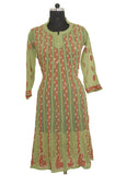 Mehendi Green Georgette Anarkali with Chikankari Embroidery - Saira's Boutique - 1