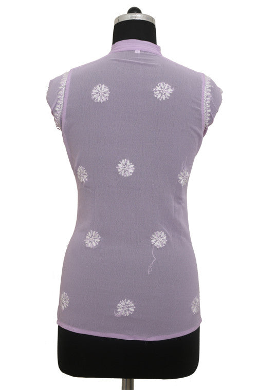 Light Purple Georgette Top with Chikankari Embroidery - Saira's Boutique - 2