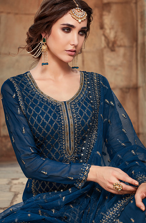 Gentian Blue Designer Embroidered Georgette Sharara Suit-Saira's Boutique