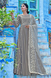 Gray Designer Embroidered Muslin Floor Length Anarkali Suit-Saira's Boutique