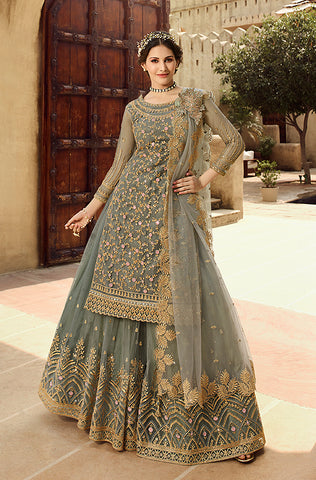 Peach Designer Heavy Embroidered Kurti Style Lehenga