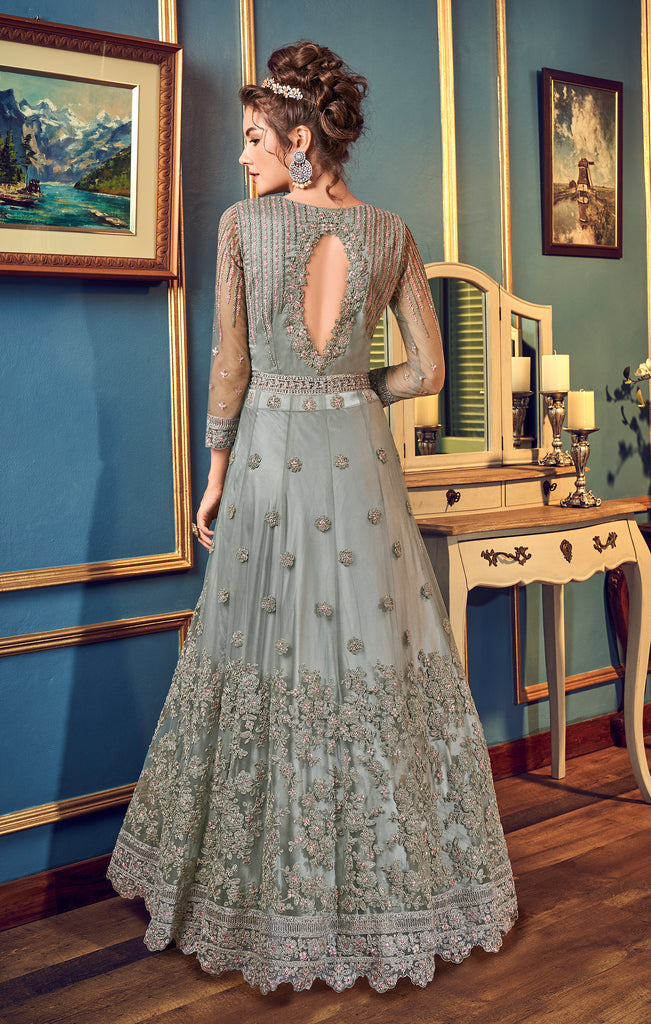 Gray Designer Heavy Embroidered Net Wedding Anarkali Gown-Saira's Boutique