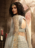 Gray Designer Heavy Embroidered Net Wedding & Bridal Lehenga-Saira's Boutique