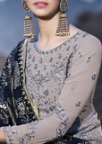 Gray & Blue Designer Embroidered Georgette Sharara Suit-Saira's Boutique