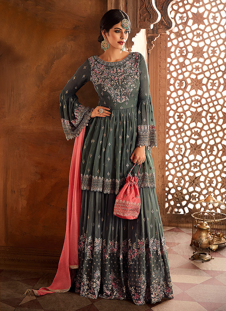 Gray & Coral Pink Designer Heavy Embroidered Georgette Sharara Suit-Saira's Boutique