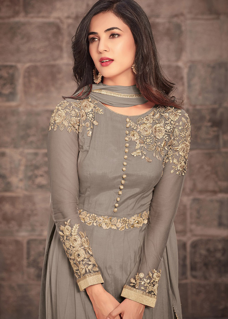 Gray Designer Embroidered Net Party Wear Anarkali Suit-Saira's Boutique