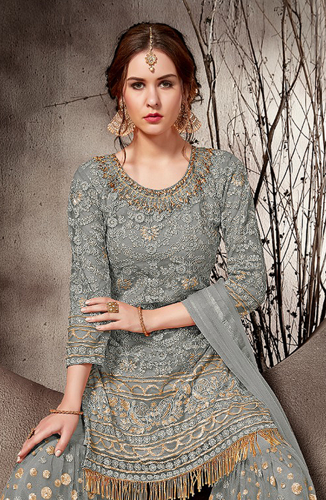 Gray Designer Embroidered Net Party Wear Gharara Suit-Saira's Boutique