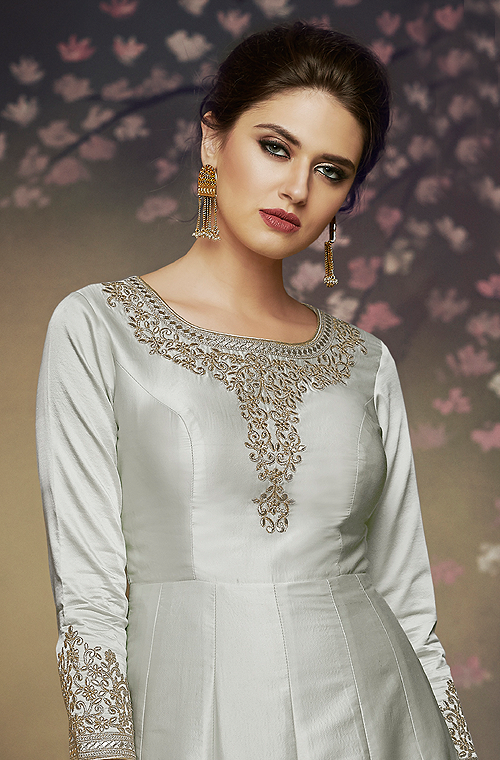 Gray Designer Embroidered Satin Silk Anarkali Gown-Saira's Boutique