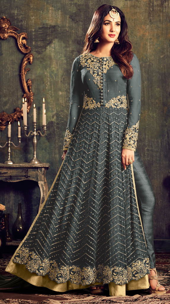 Gray Designer Heavy Embroidered Net Anarkali Suit-Saira's Boutique