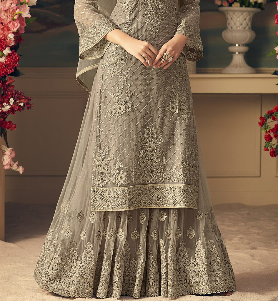 Gray Designer Heavy Embroidered Net Sharara Suit
