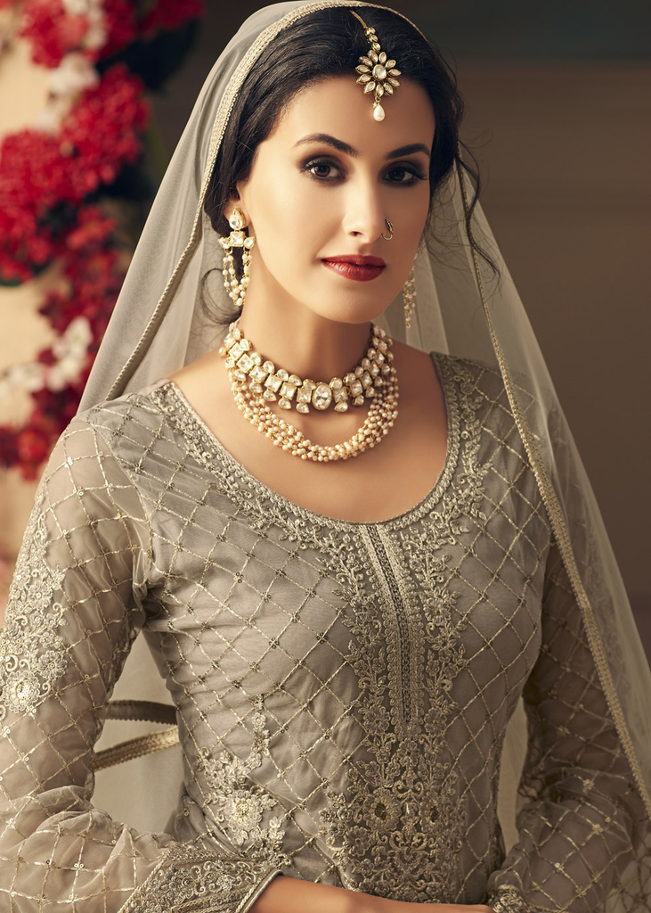 Gray Designer Heavy Embroidered Net Sharara Suit-Saira's Boutique