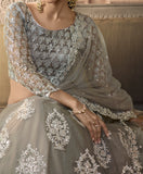 Gray Designer Heavy Embroidered Net Wedding Lehenga-Saira's Boutique