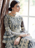 Gray Designer Heavy Embroidered Net Wedding Sharara Suit-Saira's Boutique