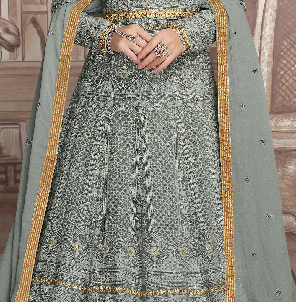 Gray & Gold Designer Heavy Embroidered Wedding Anarkali Suit-Saira's Boutique