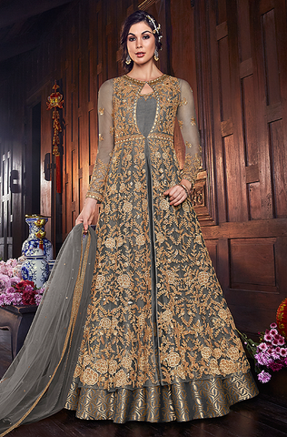 Blue Net Evening Gown with BONUS Lehenga