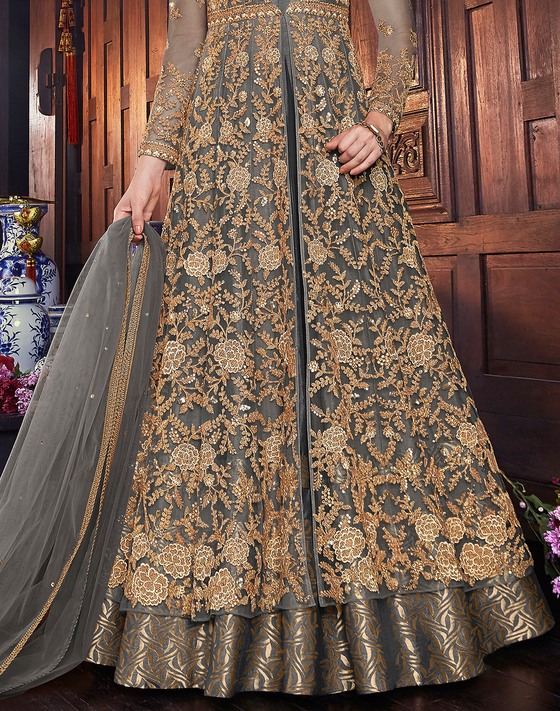 Gray & Gold Designer Embroidered Silk Bridal Anarkali Gown-Saira's Boutique
