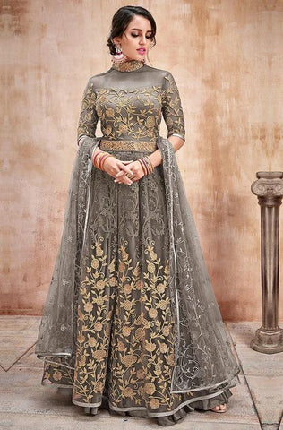 Blue Designer Embroidered Muslin Floor Length Anarkali Suit