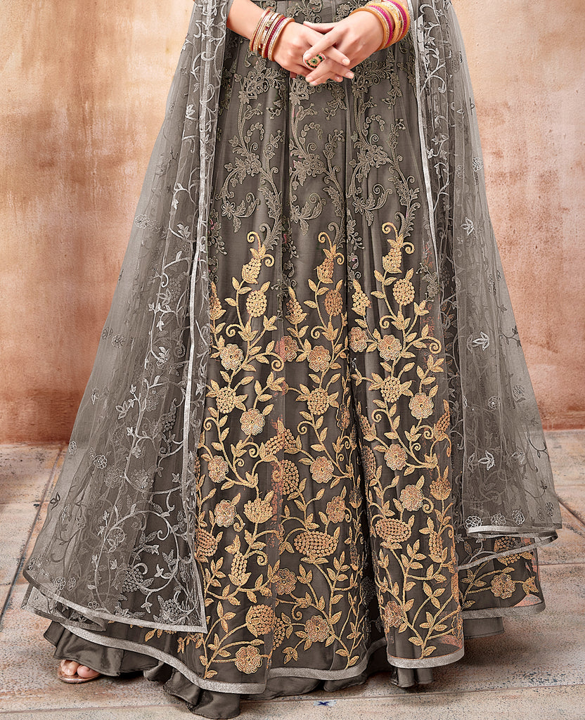 Gray & Gold Designer Heavy Embroidered Net Wedding Anarkali Suit-Saira's Boutique