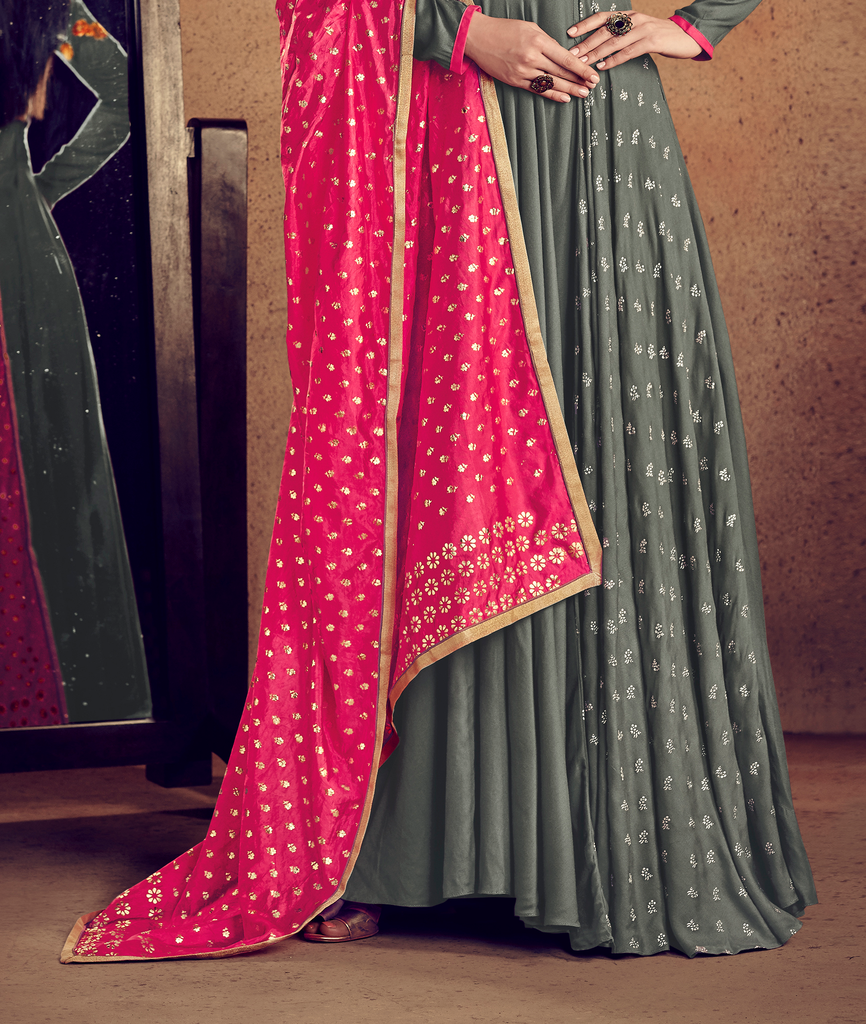Gray & Pink Designer Embroidered Readymade Rayon Anarkali Suit