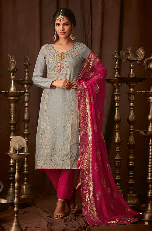 Gray & Pink Designer Embroidered Straight Cut Silk Pant Suit-Saira's Boutique