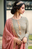 Gray & Rouge Pink Designer Embroidered Wedding Palazzo Suit-Saira's Boutique