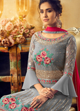 Gray & Ruby Red Designer Embroidered Georgette Palazzo Suit-Saira's Boutique