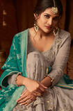 Gray & Teal Designer Heavy Embroidered Georgette Anarkali Lehenga-Saira's Boutique