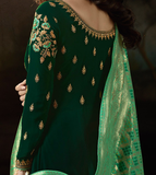Green Designer Embroidered Georgette Anarkali Suit