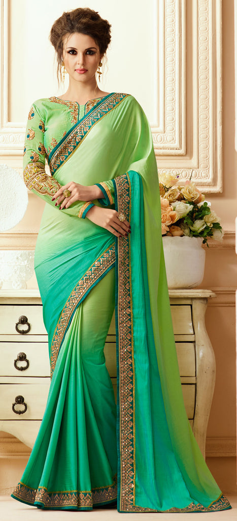 Green Designer Embroidered Silk Crepe Party Wear Saree