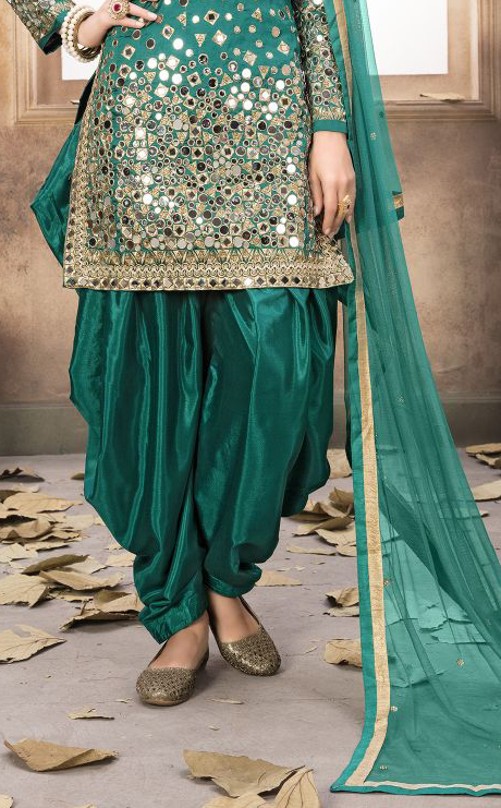 Green Designer Embroidered Silk Party Wear Patiala Suit-Saira's Boutique