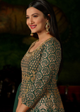 Green Designer Heavy Embroidered Georgette Wedding Anarkali Lehenga-Saira's Boutique