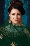 Green Designer Heavy Embroidered Georgette Wedding Anarkali Suit-Saira's Boutique