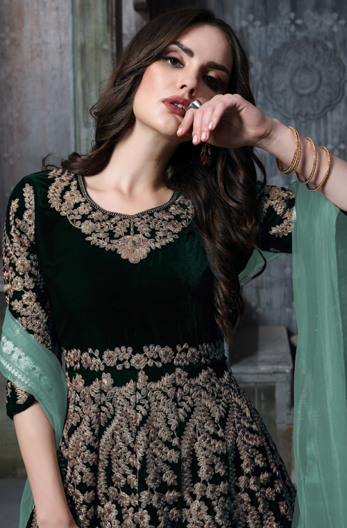Green Designer Heavy Embroidered Velvet Wedding Anarkali Suit-Saira's Boutique