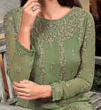 Green & Mauve Designer Heavy Embroidered Georgette Wedding Palazzo Suit-Saira's Boutique
