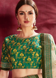 Green & Off White Designer Embroidered Silk Floral Print Lehenga Choli-Saira's Boutique