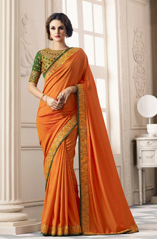 Multicolor Peach Designer Floral Print Georgette Saree