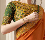 Green & Orange Designer Embroidered Silk Party Wear Saree-Saira's Boutique