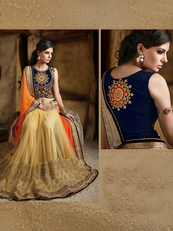Orange & Beige Designer Georgette Saree - Saira's Boutique