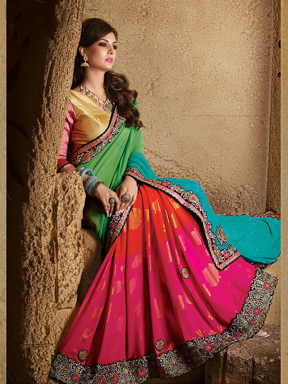 Multicolor Embroidered Georgette Saree - Saira's Boutique