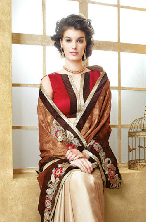 Brown & Beige Satin Chiffon Saree-Saira's Boutique