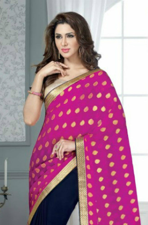 Pink & Navy Blue Georgette Embroidered Saree-Saira's Boutique